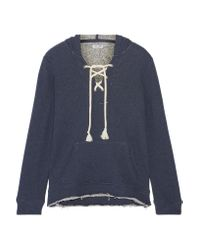 Splendid | Blue Lace-up French Cotton-terry Hooded Top | Lyst