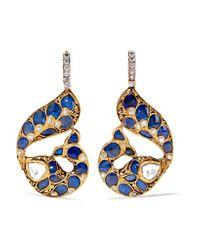 Amrapali   Metallic 22-karat Gold Multi-stone Earrings   Lyst