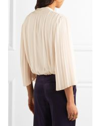 Alice + Olivia Natural Axel Wrap-effect Pleated Silk-georgette Blouse