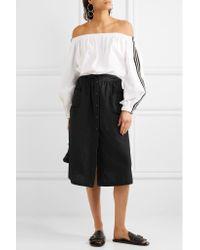 Tomas Maier Black Cotton-poplin Midi Skirt
