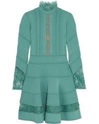 Elie Saab - Blue Lace-trimmed Knitted Dress - Lyst
