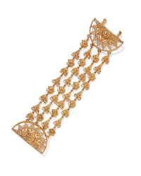 Oscar de la Renta | Metallic Ornate Gold-tone Bracelet | Lyst