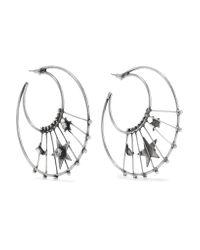 DANNIJO | Metallic Fynn Oxidized Silver-plated Swarovski Crystal Hoop Earrings | Lyst
