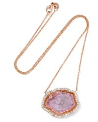 Kimberly Mcdonald | Metallic 18-karat Rose Gold, Agate And Diamond Necklace | Lyst
