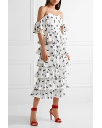 Caroline Constas - White Irene Off-the-shoulder Embroidered Cotton-blend Midi Dress - Lyst