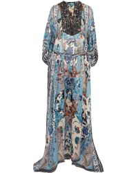 Roberto Cavalli | Blue Lace-up Bead-embellished Printed Silk-georgette Maxi Dress | Lyst