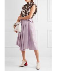 Marni - Purple Pleated Cotton Midi Skirt - Lyst