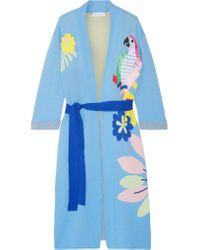MIRA MIKATI Blue Embroidered Robe