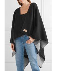 Burberry - Black Reversible Checked Merino Wool Wrap - Lyst