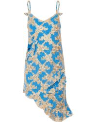 Marques'Almeida Blue Asymmetric Cutout Embroidered Tulle And Corded Lace Mini Dress