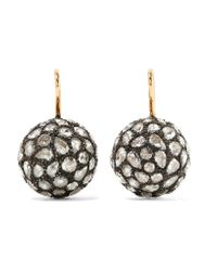 Fred Leighton | Metallic Collection 18-karat Gold, Silver And Diamond Earrings | Lyst