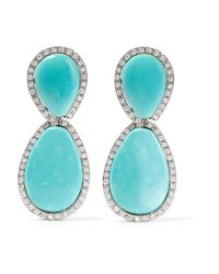 Fred Leighton | Metallic 1960s Platinum, Turquoise And Diamond Clip Earrings | Lyst