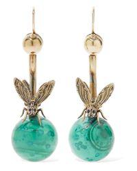 Fred Leighton | Metallic 1800s 14-karat Gold Malachite Earrings | Lyst