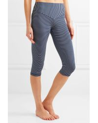 Olympia - Blue Mateo Cropped Striped Stretch-jersey Leggings - Lyst