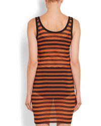 Givenchy - Orange Striped Stretch-silk Mini Dress - Lyst