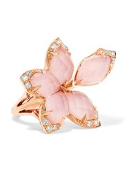 Stephen Webster | Pink Love Me, Love Me Not 18-karat Rose Gold, Quartz And Diamond Ring | Lyst