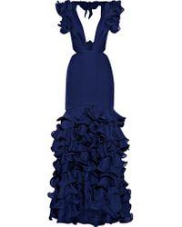 Johanna Ortiz | Blue El Encanto Cutout Ruffled Silk-chiffon Gown | Lyst