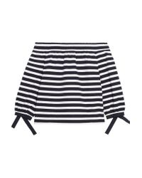 J.Crew - Blue Off-the-shoulder Striped Cotton-jersey Top - Lyst