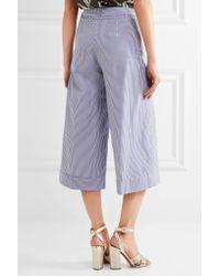 J.Crew | Blue Banada Striped Stretch-cotton Wide-leg Pants | Lyst