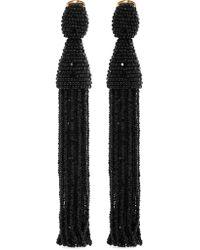 Oscar de la Renta - Black Beaded Clip Earrings - Lyst
