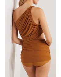 Norma Kamali Brown Diana Gerafftes Bikini-oberteil Mit Asymmetrischer Schulterpartie