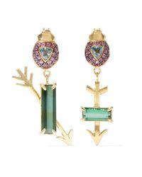 Daniela Villegas | Metallic Flechados 18-karat Gold Multi-stone Earrings | Lyst