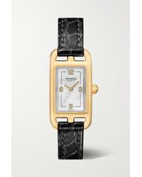 Hermès Black Nantucket 17mm Very Small 18-karat Rose Gold, Alligator And Mother-of-pearl Watch