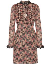 Anna Sui | Pink Ruffled Printed Cotton And Silk-blend Mini Dress | Lyst