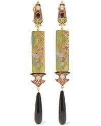 Percossi Papi Green Vergoldete Ohrringe Mit Emaille Und Mehreren Steinen