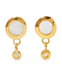 Scosha - Metallic Paradise Gold-plated, Opal And Diamond Earrings - Lyst