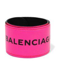 Balenciaga | Pink Cycle Textured-leather Bracelet | Lyst