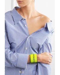 Balenciaga - Yellow Cycle Textured-leather Bracelet - Lyst