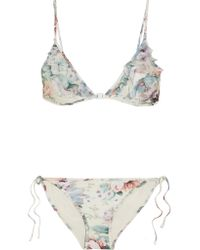 Zimmermann Multicolor Jasper Ruffled Tulle-trimmed Printed Triangle Bikini