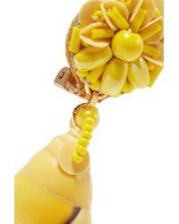 Ranjana Khan Yellow Ohrclips Aus Muscheln Und Leder Mit Zierperlen