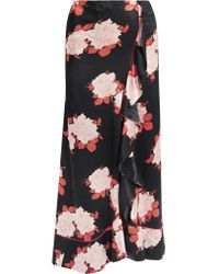 Ganni Black Wrap-effect Floral-print Satin Maxi Skirt