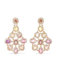 Amrapali | Metallic Blossom 18-karat Gold, Sapphire And Diamond Earrings | Lyst