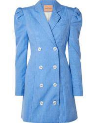 Robe Midi À Double Boutonnage Et À Fines Rayures Leap Of Faith Maggie Marilyn en coloris Blue