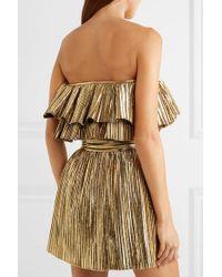 Mini-robe Bustier En Lamé Plissé Saint Laurent en coloris Metallic