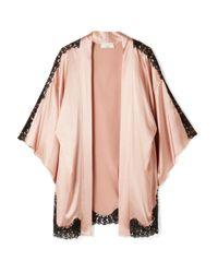 Fleur du Mal - Pink + Kilian Lace-trimmed Stretch Silk-satin Kimono - Lyst