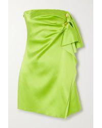 Versace Green Trägerloses Minikleid Aus Satin Mit Zierknöpfen
