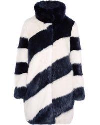 J.Crew | Blue Geo Striped Faux Fur Coat | Lyst