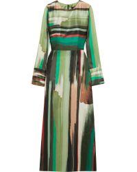 Goen.J - Green Printed Silk-satin Maxi Dress - Lyst