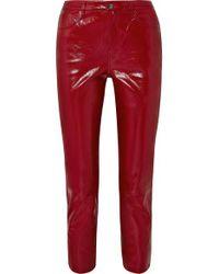Jean Slim Raccourci Taille Haute En Cuir Verni Ruby J Brand en coloris Red
