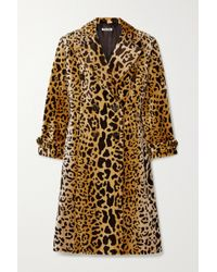 Miu Miu Brown Doppelreihiger Mantel Aus Samt Mit Leopardenprint