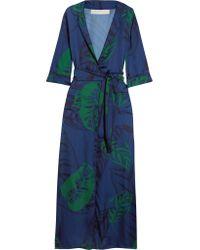Borgo De Nor Blue Maria Printed Satin Maxi Dress
