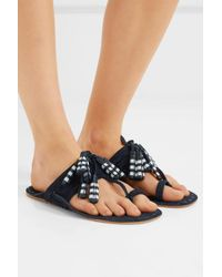 Figue - Blue Scaramouche Tasseled Leather And Suede Sandals - Lyst