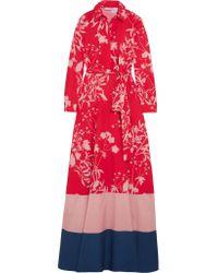 Borgo De Nor Red Carolina Printed Cotton-poplin Maxi Dress