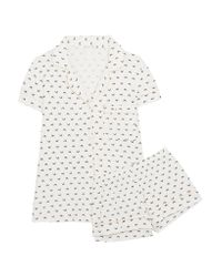 Eberjey White Sleep Chic Printed Jersey Pajama Set