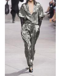 Michael Kors Metallic Silk-blend Lamé Tapered Pants
