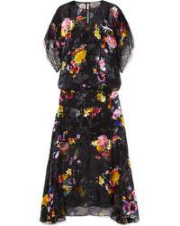 Preen By Thornton Bregazzi Black Leonora Floral-print Devoré Silk-blend Satin Midi Dress